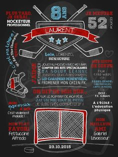 Affiche personnalisée anniversaire 6 à 12 ans Fan de hockey (rouge)   28,00$ #chalkboard #lacraieco Hockey Birthday, Hockey Party, Invitation Fete, Invitations, Happy Birthday Buddy, Birthday Chalkboard, Diy Christmas Gifts, Party Themes, Montages