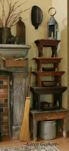 Olde Prims...stools, crocks & lanterns...photo by Karen Gerhardt.
