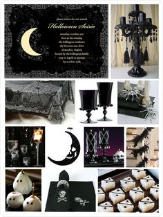 Great Ideas for halloween themed party, birthday or special event. Halloween is only away. Why not scour the boards for party ideas. Happy Haunting Lady and Man Bugs. Chic Halloween, Halloween Party Themes, Holidays Halloween, Halloween Treats, Happy Halloween, Halloween Decorations, Halloween Weddings, Halloween Spells, Halloween Clothes