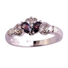 Sterling Silver Double Unique Rainbow Topaz Claddagh Ring Sz 6-12