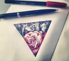 Triangle rose tattoo