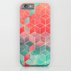 Rose And Turquoise Cubes iPhone & iPod Case by Elisabeth Fredriksson | Society6