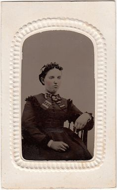 Civil War Era Tintype Lady with Striped Bow and Brooch in Embossed CDV Paper Frame