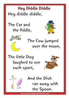 Kids Rhymes Hey Diddly Diddle - Kids education and learning acts Rhyming Preschool, Nursery Rhymes Preschool, Rhyming Activities, Preschool Bulletin, Learning Activities, Nursery Rhymes Lyrics, Nursery Rhyme Theme, Nursery Songs, Songs For Toddlers