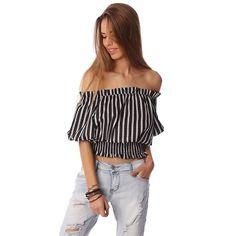 Black crop top in stripe with off shoulder – Fashion Gal Freedom