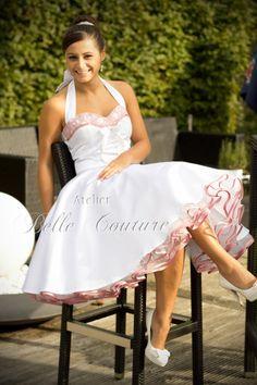 "Custom made & handmade - Short petticoat wedding dress with lace ""Aurélie"" - Hochzeitskleid & mehr - Best wedding details Dresses Short, 50s Dresses, Pretty Dresses, Vintage Dresses, Beautiful Dresses, Flower Girl Dresses, 50s Wedding, Rockabilly Wedding, Wedding Ceremony"