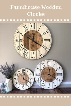 The perfect, farmhouse clock! This wooden clock will be a great centerpiece to any farmhouse styled room! #farmhousedecor #farmhouseclock #woodenclock #ad