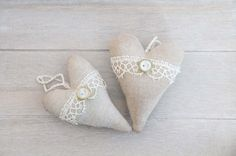 Coffee and vanilla hearts with vintage lace,  home Heart Decoration, Christmas Tree, Xmas decor,Christmas Decor,Holiday Decor on Etsy, $14.67