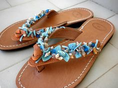Greek leather sandals with shell beads,Leather sandals,White blue natural shell bead sandals,Blue decorated leather sandals,Summer sandals Beaded Shoes, Beaded Sandals, Greek Sandals, Blue Sandals, Summer Flats, Denim Shoes, Flip Flop Sandals, Flip Flops, Anklet