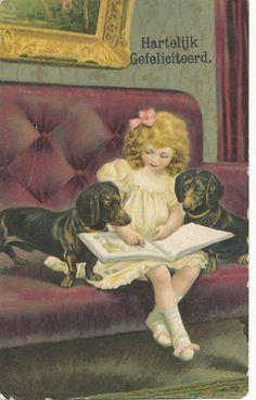 Lovely Girl Book Dog Dachshund Postcard | eBay