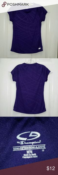 Champion Work-Out Tee Shirt Purple semi-fitted work-out tee. Size medium. 100% polyester, easy care, excellent used condition,  smoke free home. Champion Tops Tees - Short Sleeve