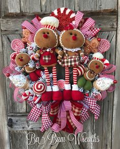 Christmas Wreath, Gingerbread Wreath, Christmas Burlap Wreath, Gingerbread Decor, Christmas Decor OH Snap! Ginger Snap that is!!!! You are viewing a Fun Filled Christmas wreath with wholesome goodness~ Gingerbread style! Made on a wired frame, filled with designer peppermint stripe