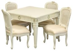 French Child's Table And Chairs In Crème