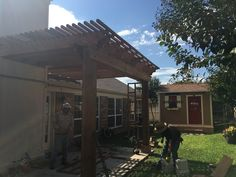 This is a cedar pergola that was installed by GroundScape in North Richland Hills Texas. Cedar Pergola, Pergola Swing, Pergola With Roof, North Richland Hills Texas, Landscaping Company, Landscape, Outdoor Decor, Arbors, Home Decor
