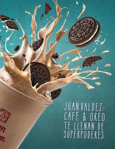 To advertise the seasonal beverage for Juan Valdez Café, we blended the powers given by coffee and oreos and transformed them into superpowers for grown ups. Food Poster Design, Creative Poster Design, Ads Creative, Creative Posters, Food Design, Food Advertising, Creative Advertising, Advertising Design, Advertising Campaign
