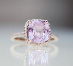 Pink Sapphire Ring 14k Rose Gold #Diamond Ring 3.2ct Square Cushion Peach Sapphire Engagement #Ring. http://jangmijewelry.com/