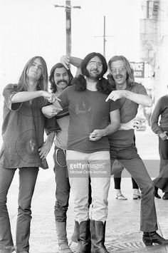 Bob Weir, Bill Kreutzmann, Jerry Garcia, Phil Lesh of the rock and roll group 'The Grateful Dead' pose for a portrait session on Portrero Hill in circa 1968 in San Francisco, California.