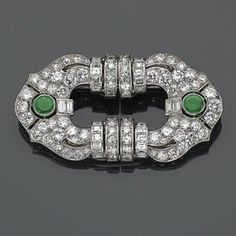 Beautiful Green Round Baguette Vintage Style Brooch 925 sterling silver Women Nw #NIKI