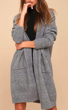 Simple Pleasure Heather Grey Long Cardigan Sweater