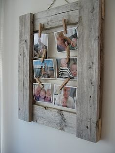 Many people love purchasing something unique and handmade, something like wood creations. But not all people have spare time making easy DIY crafts to sell. Pallet Picture Frames, Pallet Frames, Pallet Picture Display, Rustic Picture Frames, Display Photos, Barn Wood Frames, Wooden Frames, Photo On Wood, Picture On Wood