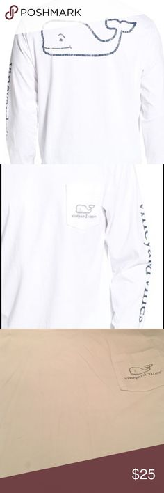 Vineyard vines long sleeve White Vv tee shirt tiny stain shown in picture size M Vineyard Vines Tops Tees - Long Sleeve