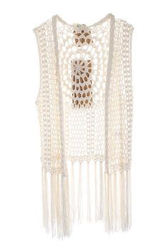 Ivory Fringe Crochet Knit Sleeveless Vest