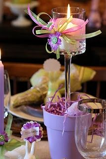 cute candle idea for a birthday or tea party and for those broken wine glasses to not go to waste to