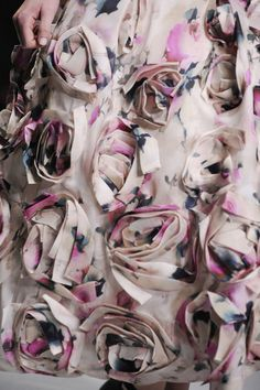 3D fabric flowers & pretty floral prints - fabric manipulation for fashion; surface design with textured pattern & print // John Rocha