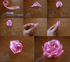 Wonderful Ribbon Embroidery Flowers by Hand Ideas. Enchanting Ribbon Embroidery Flowers by Hand Ideas. Satin Ribbon Flowers, Ribbon Art, Diy Ribbon, Ribbon Crafts, Fabric Ribbon, Flower Crafts, Silk Flowers, Fabric Flowers, Paper Flowers