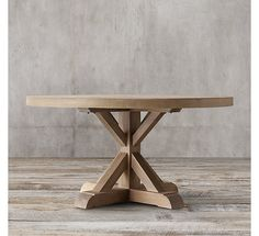 Distressed Elm Belgian Trestle Round Dining Table