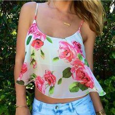 Rose summer crop top