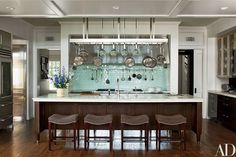 Mariette Himes Gomez Decorates a Mansion on Long Island : Interiors + Inspiration : Architectural Digest. Love the backsplash Kitchen And Bath, New Kitchen, Awesome Kitchen, Kitchen Ideas, Paris Kitchen, Long Kitchen, Kitchen Time, Pantry Ideas, Island Kitchen