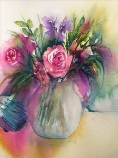 Watercolour vase of flowers