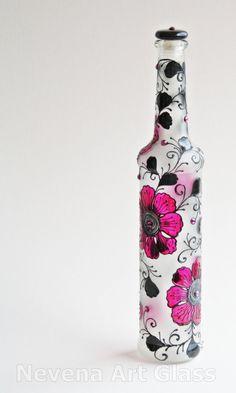 Hand Painted Bottle by NevenaArtGlass  |  etsy.com