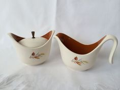 $15.50 - Autumn Harvest Set, Taylor Smith Taylor, Sugar and Creamer, Mid Century Dishes, Ever Yours Line, Futuristic Design, Thanksgiving Dishes