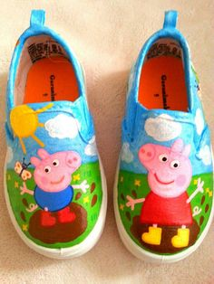 Peppa Pig Inspired Special Occasion Hand Painted Shoes by ZoSos