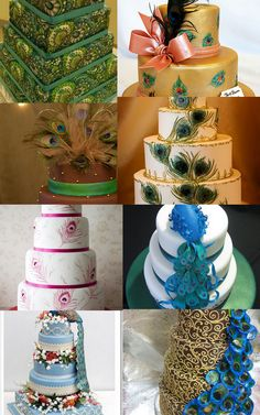 Cake ideas: like green and the white and gold with feathers