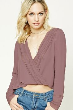 Forever 21 Contemporary - This textured woven top features a deep surplice neckline with a snap-button front, lace trim along the neckline and long sleeves, and a boxy silhouette.