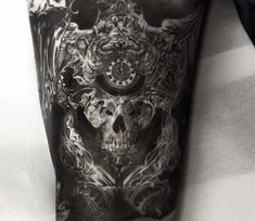 Baroque skull tattoo by Niki Norberg