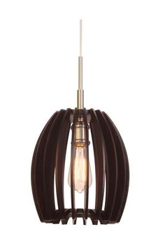 Woodbridge Lighting Canopy 1-light Wood Shade Satin Nickel Mini Pendant