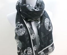 Black Abtract Skull Aztec Scarf by dailyaccessoriez on Etsy, $13.99