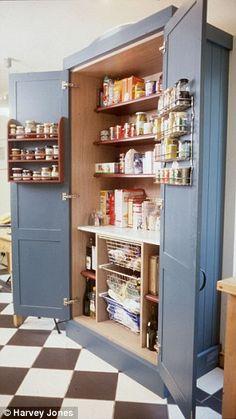 A standalone pantry by Harvey Jones Kitchen Larder, Larder Cupboard, Kitchen Pantry Cabinets, Painting Kitchen Cabinets, Cupboards, Larder Unit, Kitchen Dining, Kitchen Cabinets Grey And White, Grey Cabinets