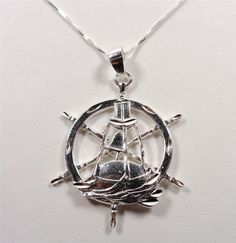 STERLING SILVER NAUTICAL MARITIME NAVIGATIONAL BOUY SHIPS WHEEL PENDANT NECKLACE