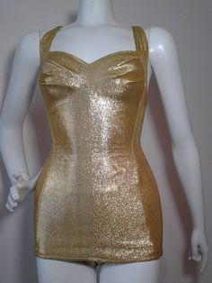 1950s Cole of California Pristine Gold Lame SwimSuit image 5