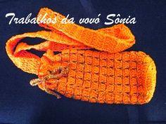 Trabalhos da vovó Sônia: Porta-garrafinha de água laranja - crochê