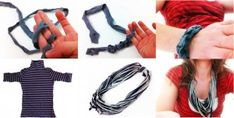 marivitrombeta_italia: L'inesauribile mondo delle t-shirt riciclate Diy Old Tshirts, Old T Shirts, T Shirt Diy, My T Shirt, T Shirt Bracelet, Finger Knitting, Fabric Scissors, Knitting Projects, Craft Projects