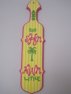 Preppy Paddle #SororityPaddles #Monogram #Tropical