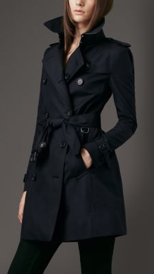 Mid-Length Cotton Gabardine Trench Coat-navy