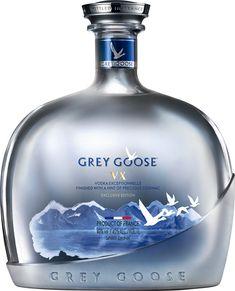Grey Goose VX Vodka with Cognac; Vodka with a hint of Cognac. Absolut Vodka, Vodka Cocktails, Alcoholic Drinks, Beverages, Bacardi, Alcohol Bottles, Liquor Bottles, Vodka Bottle, Packaging