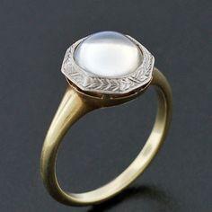 A. Brandt + Son - Edwardian Platinum & 14kt Cabochon Moonstone Ring